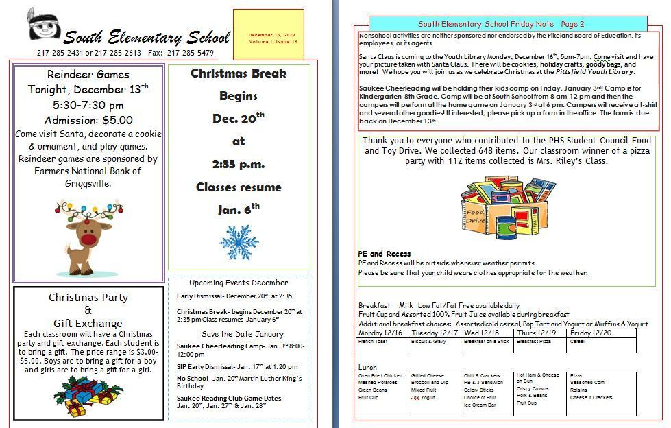 South School News for December 13th
