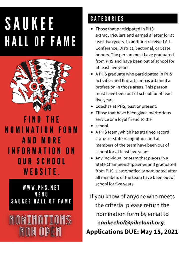 Saukee Hall of Fame Nomination Time!