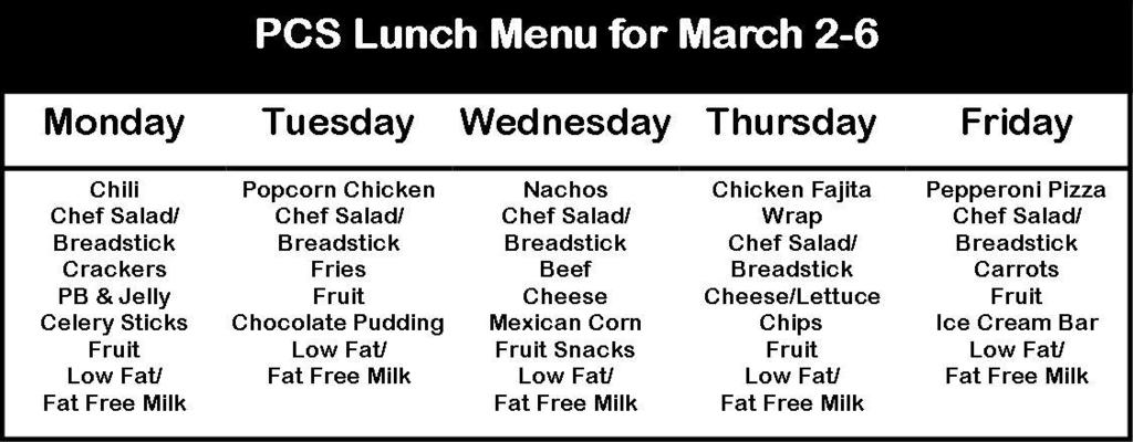 Lunch Menu for March 2-6